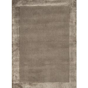 Ascot Taupe Plain Bordered Wool Rug 160x230cm
