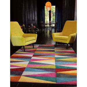 Funk Triangles Multicoloured Wool Rug by Asiatic