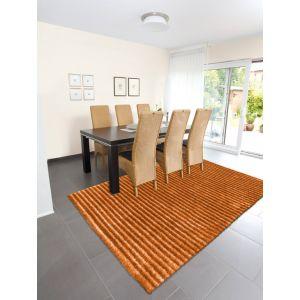 Felicia 200 Rugs in Orange - Felicia Plain Striped Shag Rugs by Arte Espina