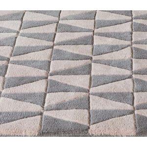 Geometric GEO05 Modern Rugs in Pink/Grey
