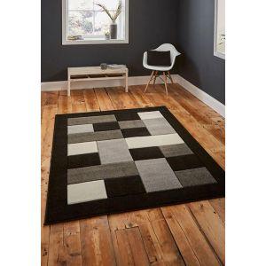 Matrix MT04 Block Design Rugs in Black/Grey