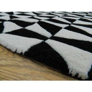 Geometric GEO01 Wool Rugs in Black/White - Free UK Delivery