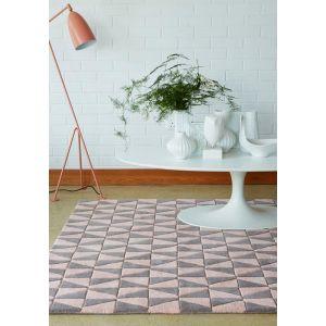 Geometric GEO05 Wool Rugs in Pink/Grey - CapitalRugsUK