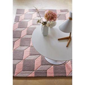 Geometric GEO06 Wool Rugs in Grey/Pink - Free UK Delivery