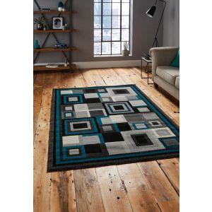 Buy Hudson 3222 Geometric Rugs in Black/Blue
