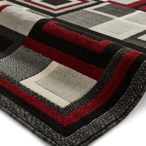 Hudson 3222 Rugs in Black/Red