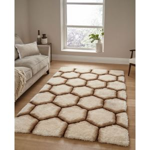 Noble House NH 30782 Cream Brown Shaggy Rugs