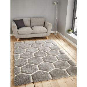 Noble House NH 30782 Grey White Shaggy Rugs