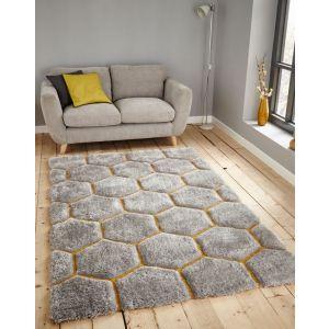 Noble House Rugs, NH-30782 Grey Yellow Shaggy Rug