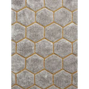 Noble House NH 30782 Grey Yellow Shaggy Rugs in 120 x 170 cm