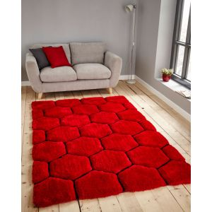 Noble House NH-30782 Red Black Shaggy Rug