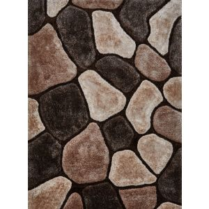Noble House NH-5858 Shaggy Rugs in Beige & Brown, 120 x 170 cm