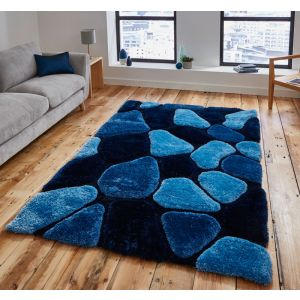 Noble House NH 5858 Blue Handtufted Shaggy Rugs