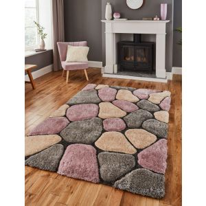 Noble House NH5858 Grey/Rose Shaggy Rug by Think Rugs