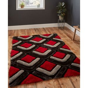 Noble House NH 8199 Black/Red Handtufted Shaggy Rug