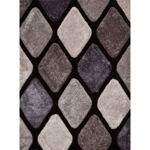 Noble House NH-9247 Black/Grey Handtufted Shag Rugs
