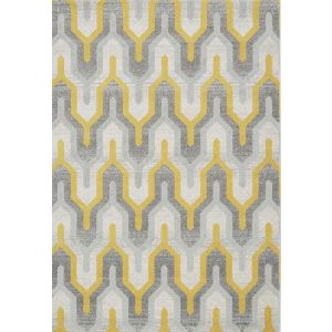 Nova NV14 Geo Rugs in Yellow and Grey - Modern Rugs for Sale UK