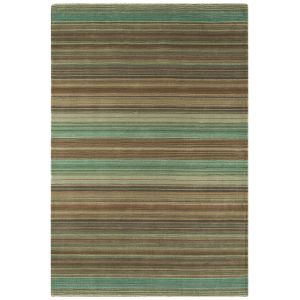 Pimlico Green Handmade 100% Wool Striped Area Rug