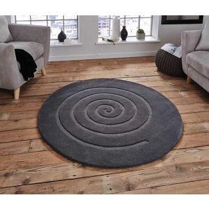 Think Rugs Spiral Circle 100% Wool Rug in Grey