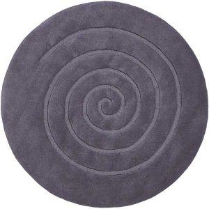 Spiral Circle 100% Wool Rug Grey by Think  Rugs