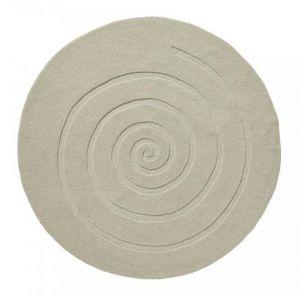 Spiral Ivory Wool Rugs Round Online