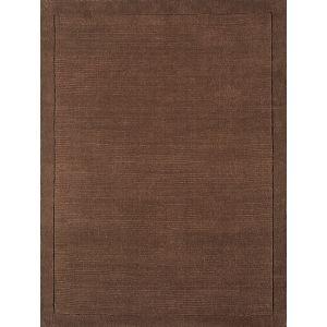 York Chocolate Brown Plain Wool Rug by Asiatic