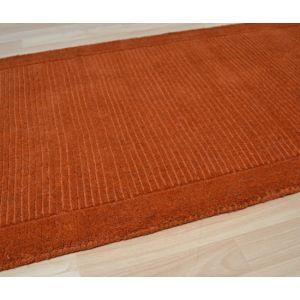 York Plain Terracotta Rugs | Pure Woollen Pile