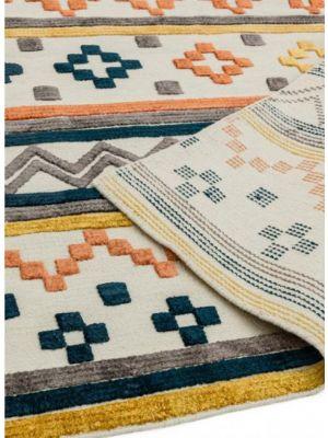 Theo Earth Tone Geometric Wool Rug by Asiatic