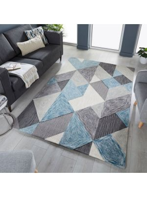Zest Icon Geometric Rug in Blue/Grey by Flair