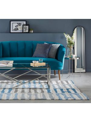 Zest Abstract Stripe Blue Rug by Flair
