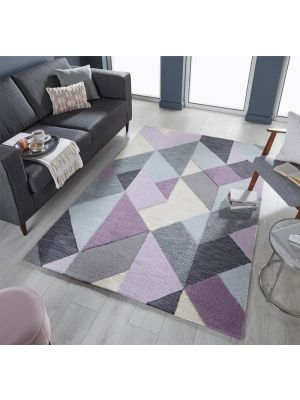 Zest Icon Geometric Rug in Mauve/Grey Multi by Flair