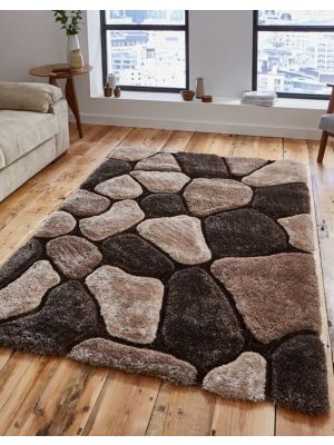 Noble House NH-5858 Beige Brown Shaggy Rugs by Think