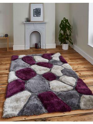 Noble House NH-5858 Grey/Purple Shaggy Rug, 120 x 170 cm
