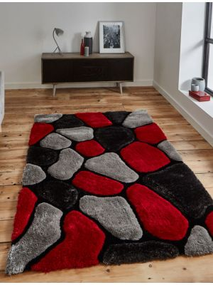 Noble House NH-5858 Shaggy Rugs in Grey & Red