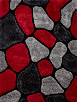 Noble House NH-5858 Shaggy Rugs in Grey/Red